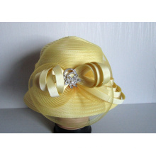 Vestido de cinta de raso para mujer Sombreros de iglesia de moda