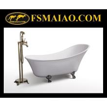 Brillante acrílico blanco independiente auténtica bañera clásica (BA-8307)