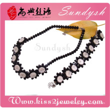 Party Jewelry Classics Black Rose Flower Necklace Bracelet