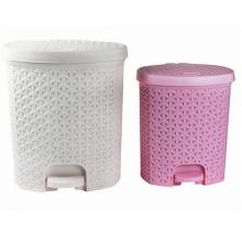 Creative Weave Design Plastic Pedal Waste Bin (YW0091)