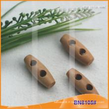 Bouton Toggle en bois naturel naturel pour vêtements BN8105