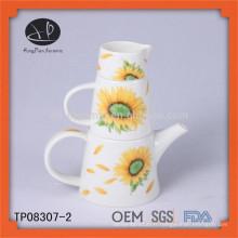 , Théière en céramique avec design, thé thé divisé, théières décoratives en porcelaine, ensemble théière