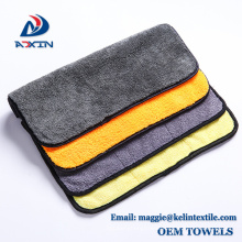 Super Absorbent Coral Fleece Cloth Car Cleaning Microfiber Towel with Yellow Gray Color