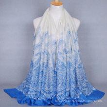 Heißer Verkauf neue Design Frauen lange Plain Cashew Drucken Voile Schal Indien Hijab