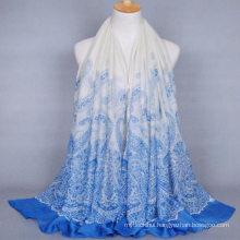 Hot sale new design women long plain cashew printing voile shawl India hijab