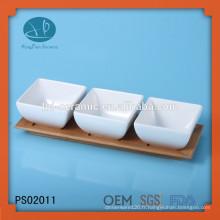 Ensemble de vaisselle 4pcs, bol en céramique avec plateau en bambou, cuvette en porcelaine avec plateau