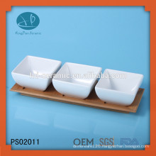 4pcs serving dish set,ceramic bowl with bamboo tray,porcelain bowl set with tray