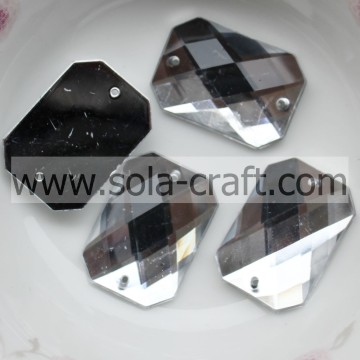 Retail 15 * 21mm Clear Silver Plastic acryl Cut rechthoek kubus gordijn spiegel Crystal kraal District