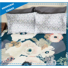 Lake Green Floral Pattern Polyester Quilt Cover Set