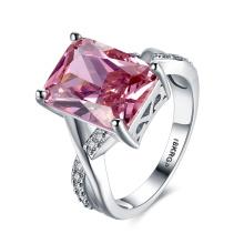 Wedding Ring for Women Platinum Pink Square Zircon Ring