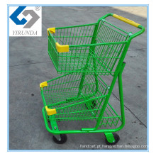 Carrinho de Compras Duplo Cesto Verde com Bom Uso