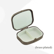 Caja de metal rectangular de latón con 2 unidades de inserción (BOX-39)