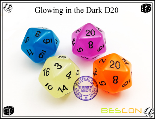 Glowing in the dark 20 sides dice