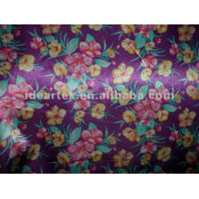 Tela del satén de seda falsa Flora impreso para el vestido y ropa de dormir