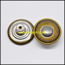 Два цвета латуни джинсы кнопка