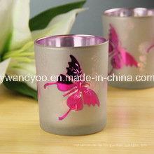 Schmetterlings-duftende Sojabohnenöl-Weihnachtskerze in Eletroplate-Glas