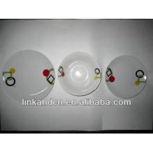Haonai 12pcs simple white porcelain dinner plate set