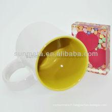 Sublimation tasse blanche avec couleur intérieur subliamtion imprimé tasses yiwu usine