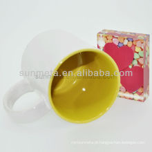 Sublimação caneca branca com cor dentro subliamtion impressa canecas yiwu fábrica