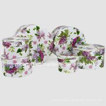 Изысканный цветок печатной бумаги Косметическая упаковка Круглые подарочные коробки