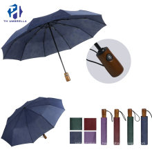 3 Folding Automatic Advertising Umbrella with Wooden Handle