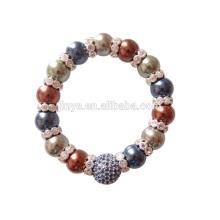 Fashion Bling Bling Rhinestone Baroque Pearl Bracelet, Pearl Beaded Bracelet For Woman Party Bracelet Jewelry