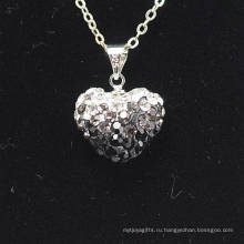 Мода Shamballa ожерелье Оптовая Heart Shape Новый градиент цвета прибытия Кристалл глина Shamballa С серебряными цепочками ожерелье