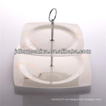 Nueva forma cuadrada china de hueso plato de cerámica porcelana pastel