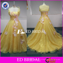 ED Bridal Custom Made Yellow Sequined Organza Real Picture Robes Quinceanera