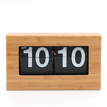 Box Form Bambus Material Retro Flip Clock