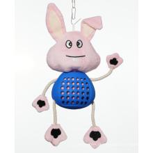 Coelho de brinquedo de cachorro de pelúcia