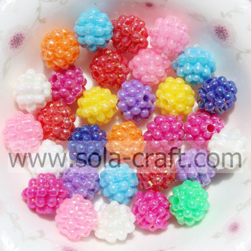10MM Fashion Colorful Acrylic Metallic Berry Beads For Jewelry