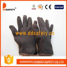 Brown Jersey Red Fleece Liner Safety Glove Dcd109