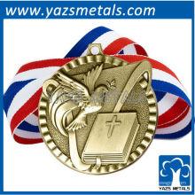 personalizar medallas de metal, la medalla de alta calidad de encargo de la victoria de la religión con la cinta