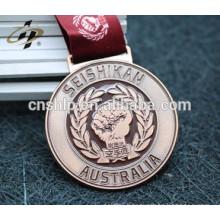 custom handicraft enamel gold metal sports taekwondo medal ribbon hanger