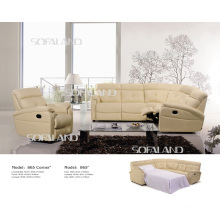 Modern Genuine Leather Sofa Bed (865#)