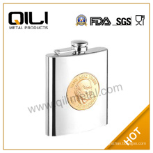 7oz stainless steel whisky hip flask with plate for Russian