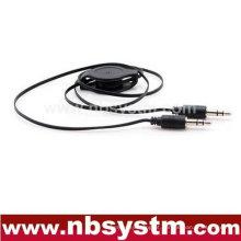 Cabo de áudio flexível estéreo de 3,5 mm, cabo de áudio AUX, carro mp3