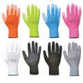 benutzerdefinierte Farbe 13G schwarz Polyester Shell mit schwarzem Pu beschichtet auf Finger und Palm Handschuhe