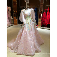 Delicate High Quality Pink Real Sample Organza Wedding Dress