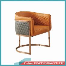 High Quality Format Pattern Nappa Leather Gold Chrome Leg Sofa Meeting Chair