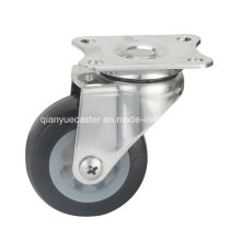 Rodízio giratório de aço inoxidável leve, roda TPR