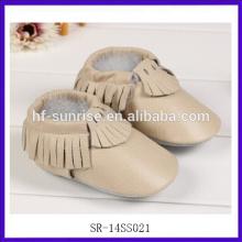 SR-14SS021 nuevos zapatos de bebé de cuero del diseñador zapatos de bebé divertidos recién nacidos zapatos planos del bebé de la muchacha