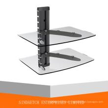 Support de DVD 2 étages - étagère en aluminium et verre trempé DVD