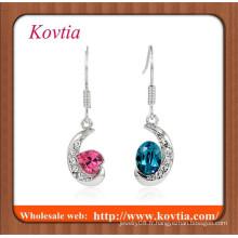 FINE bijoux en argent plaqué croissant de lune avec bijoux en cristal à deux couleurs pendent une boucle d'oreille
