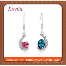 Jóias finas banhado a prata lua crescente com duas cores de cristal jóias de moda pendurar brinco