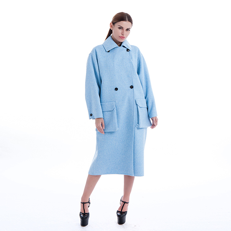 Blue Classic Pure Cashmere Coat Lady