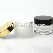 30ml 50ml pot de crème de verre transparent vide avec couvercle
