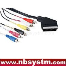 Scart Stecker Stecker auf 6x Cinch Stecker Stecker Kabel