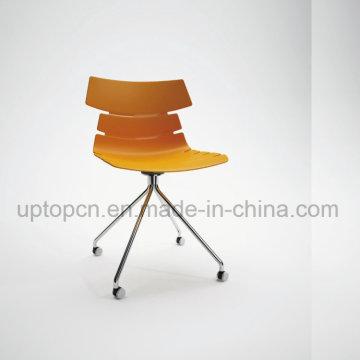 Оптовая Цвет настраиваемый пластиковый стул с хромированной стальной ногой (СП-UC495)